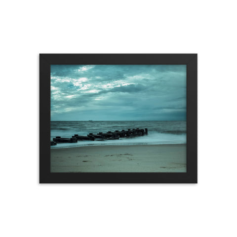 Blue Morning at Rehoboth Coastal Landscape Framed Photo Paper Wall Art Prints
