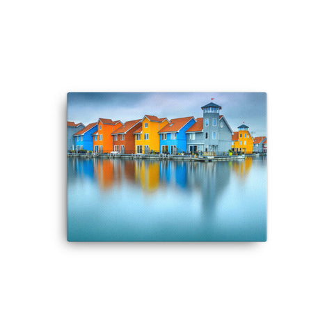 Blue Morning at Waters Edge Coastal Landscape Canvas Wall Art Prints