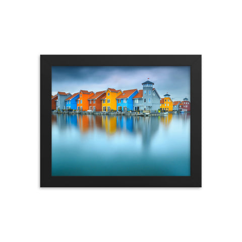 Blue Morning at Waters Edge Landscape Framed Photo Paper Wall Art Prints