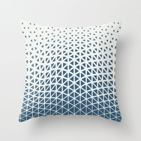 Blue & Off White Gradient Cubism Pattern 2 - 2020 Color of the Year Chinese Porcelain PPG1160-6 Throw Pillow
