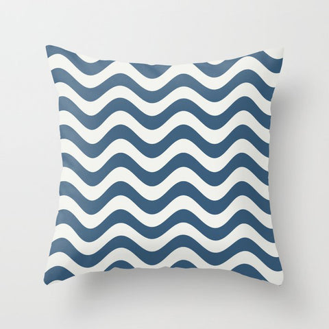 Blue & Off White Rippled Stripes, Wavy Line Pattern - 2020 Color of the Year Chinese Porcelain Throw Pillow