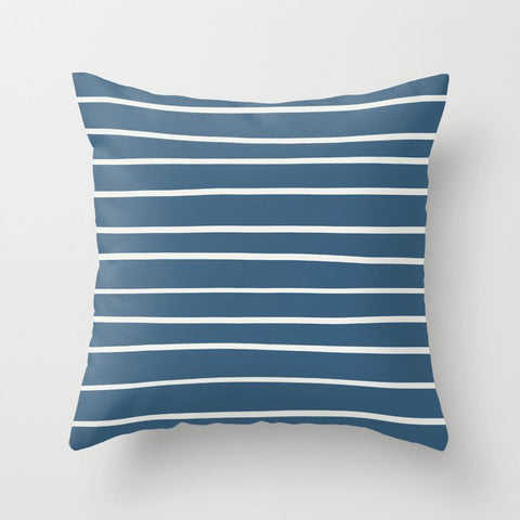Blue & Off White Thin Hand Drawn Line Pattern - Delicate White PPG1001-1 and Chinese Porcelain Throw Pillow