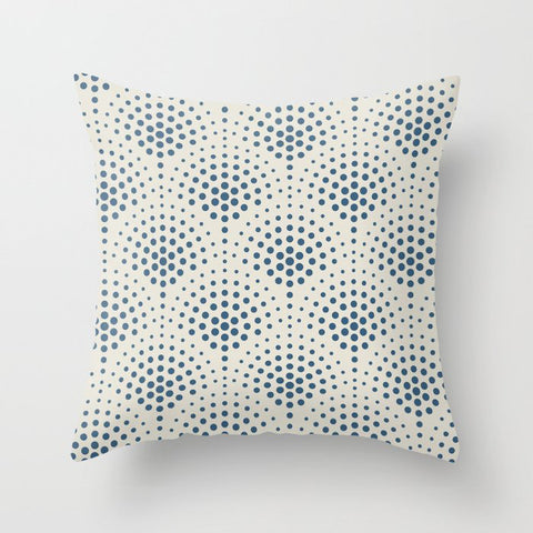 Blue Polka Dot Scallop Pattern on Linen White Pairs To 2020 Color of the Year Chinese Porcelain Throw Pillow