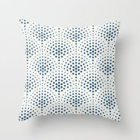Blue Polka Dot Scallop Pattern on Off White Pairs To 2020 Color of the Year Chinese Porcelain Throw Pillow