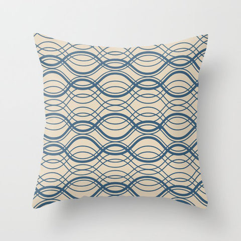 Blue Thin Overlapping Horizontal Lines Pattern on Beige - 2020 Color of the year Chinese Porcelain Throw Pillow