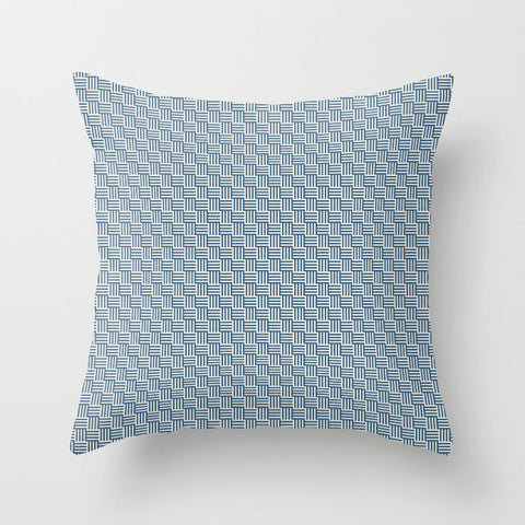 Blue and Off White Grid Stripes Tessellation Pattern Matches Chinese Porcelain and Delicate White Throw Pillow