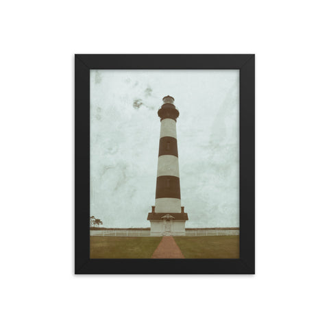 Bodie Lighthouse Glass Plate Effect Coastal Landscape Framed Photo Paper Wall Art Prints