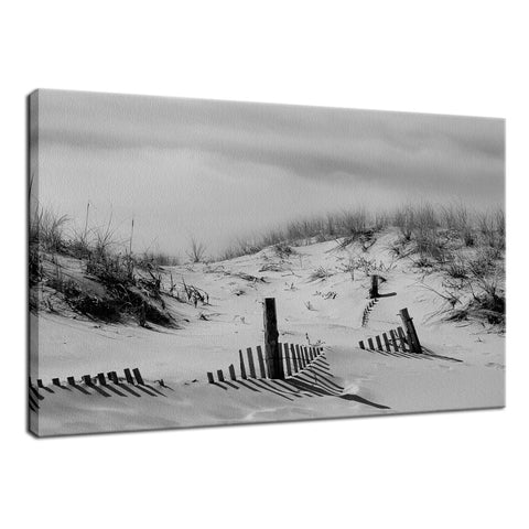 Buried Fences Black & White Coastal Landscape Photo Fine Art Canvas Wall Art Prints