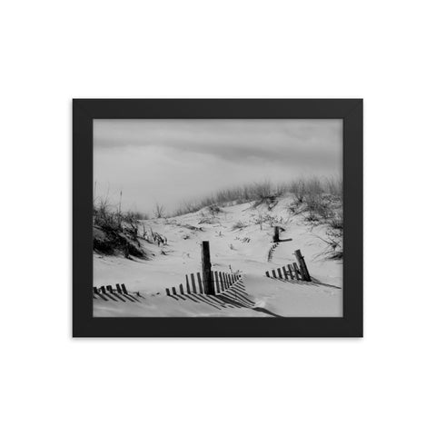 Buried Fences Black & White Coastal Landscape Framed Photo Paper Wall Art Prints