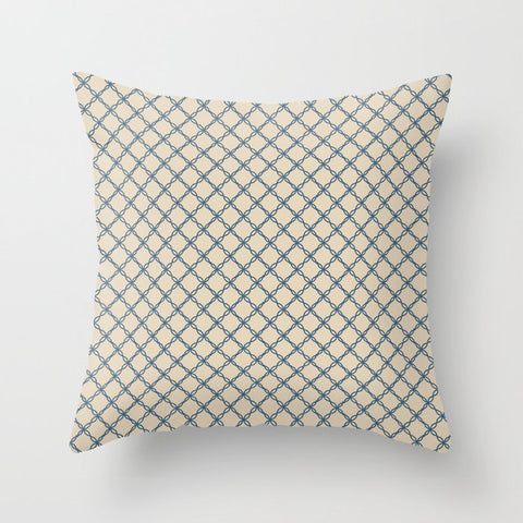 Calming Blue Scroll Grid Pattern on Beige Pairs To 2020 Color of the Year Chinese Porcelain Throw Pillow