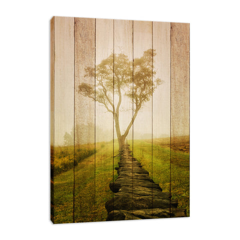 Faux Wood Calming Morning Rural Landscape Photo Fine Art Canvas Wall Art Prints