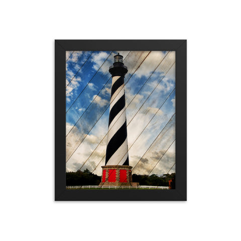 Cape Hatteras Lighthouse Landscape Photo Faux Wood Framed Photo Paper Wall Art Prints