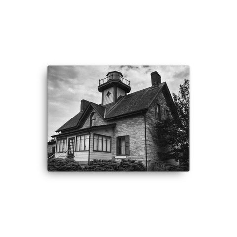 Cedar Point Lighthouse in Black and White Coastal Landscape Canvas Wall Art Prints