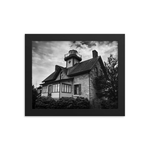 Cedar Point Lighthouse in Black and White Framed Photo Paper Wall Art Prints