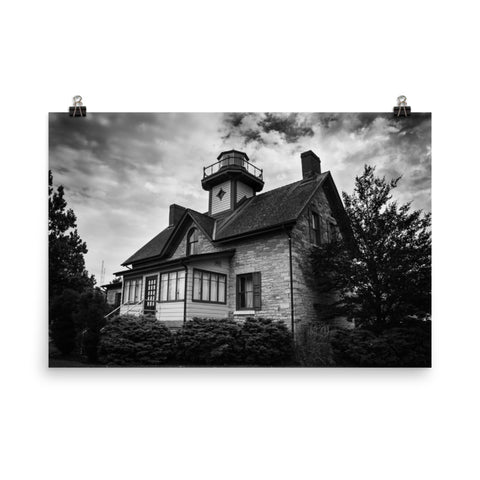 Cedar Point Lighthouse in Black and White Landscape Photo Loose Wall Art Prints