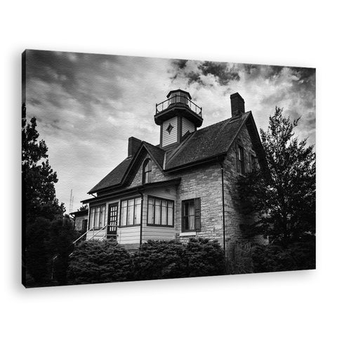 Cedar Point Lighthouse in Black & White Coastal Landscape Fine Art Canvas Wall Art Prints