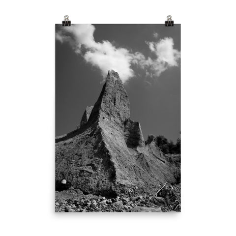 Chimney Bluff Black and White Landscape Photo Loose Wall Art Print