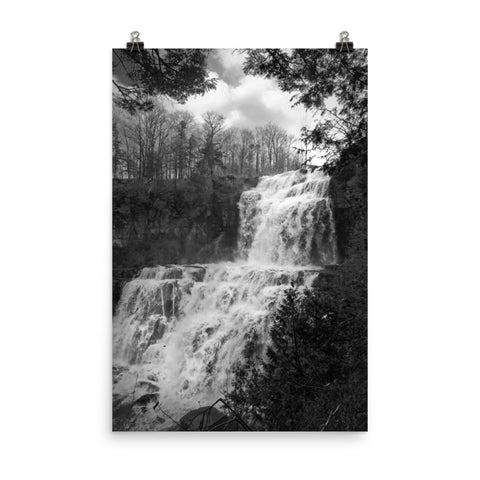 Chittenango Falls in Black and White Rural Landscape Photo Loose Wall Art Print