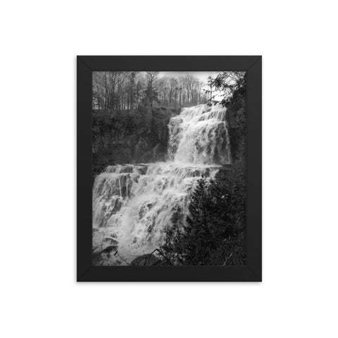 Chittenango Waterfall in Black and White Rural Landscape Framed Photo Paper Wall Art Prints
