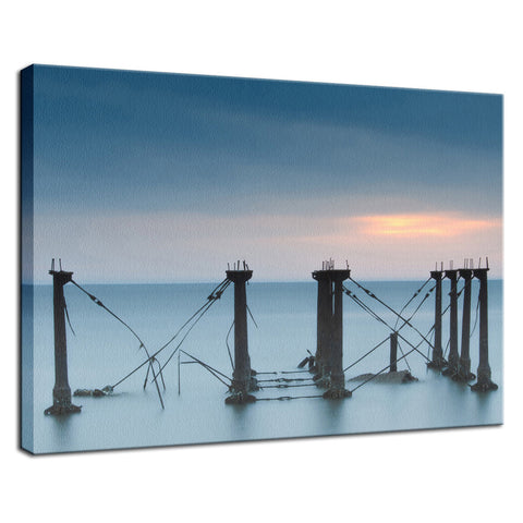 Cloudy Sunrise at Port Mahon Lighthouse Ruins Coastal Landscape Fine Art Canvas Wall Art Prints