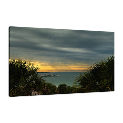 Cloudy Rainy Sunset De Soto Beach Coastal Landscape Fine Art Canvas Wall Art Prints