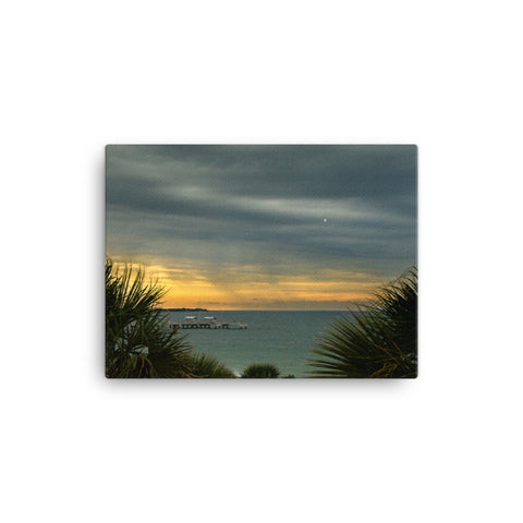 Cloudy Rainy Sunset De Soto Beach Coastal Landscape Canvas Wall Art Prints