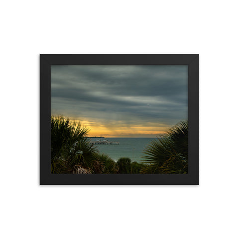 Cloudy Rainy Sunset De Soto Beach Coastal Landscape Framed Photo Paper Wall Art Prints