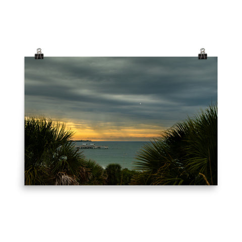Cloudy Rainy Sunset De Soto Beach Coastal Landscape Photo Loose Wall Art Prints