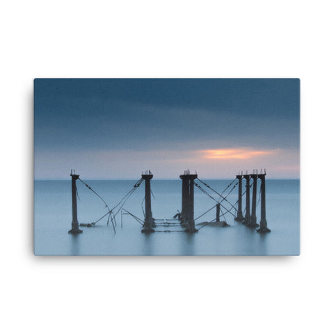 Cloudy Sunrise at Port Mahon Lighthouse Ruins Coastal Landscape Canvas Wall Art Prints