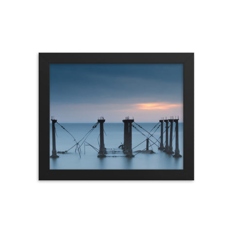 Cloudy Sunrise at Port Mahon Lighthouse Ruins Coastal Landscape Framed Photo Paper Wall Art Prints