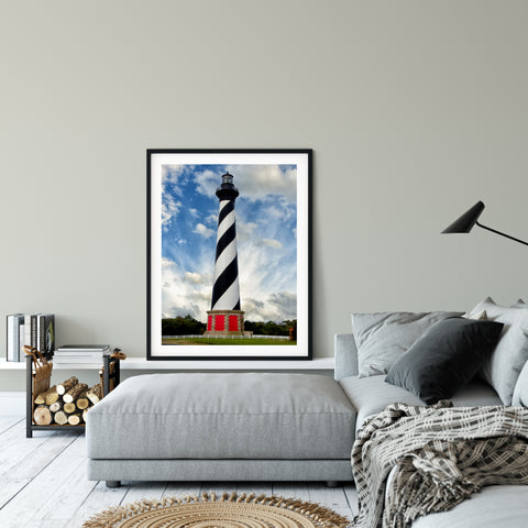 Coastal Wall Decor Cape Hatteras Lighthouse Landscape Photography - Fine Art Canvas Prints - Home Decor Unframed Wall Art Prints for your living room, bedrooms, dining rooms family rooms and more.
