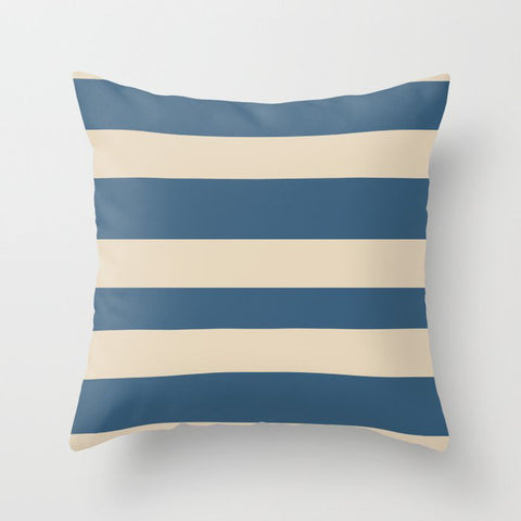 Dark Blue & Beige Wide Horizontal Hand Drawn Lines Pairs To 2020 Color of the Year Chinese Porcelain Throw Pillow