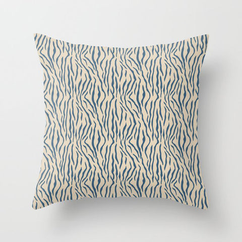 Dark Blue Tiger Stripes Pattern on Beige Pairs To 2020 Color of the Year Chinese Porcelain PPG1160-6 Throw Pillow