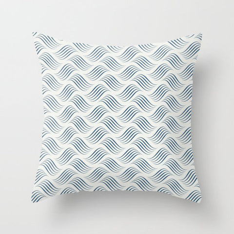Dark Blue Wavy Tessellation Line Pattern on Off White - 2020 Color of the Year Chinese Porcelain Throw Pillow