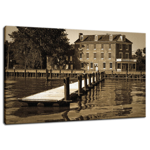 Delaware City Dock Coastal Landscape Photo Fine Art Canvas Wall Art Prints