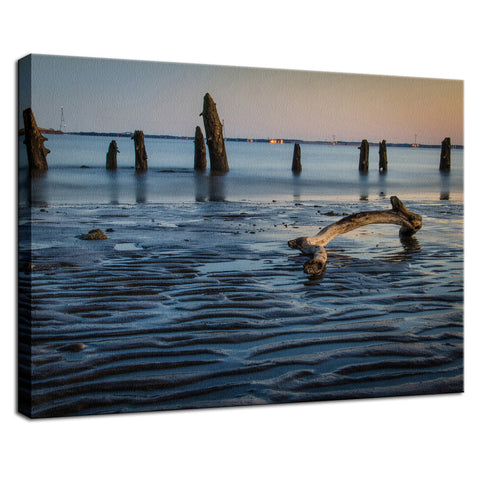 Driftwood And Sandbars Coastal Landscape Photo Fine Art Canvas Wall Art Prints