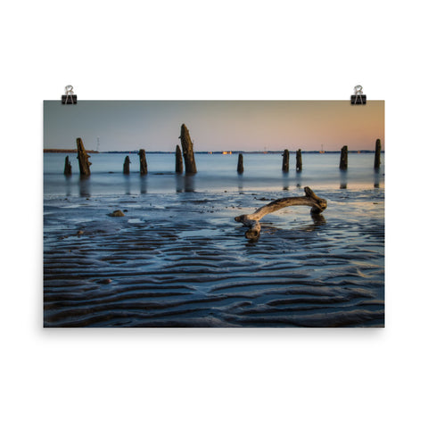 Driftwood and Sandbars Coastal Landscape Photo Loose Wall Art Prints