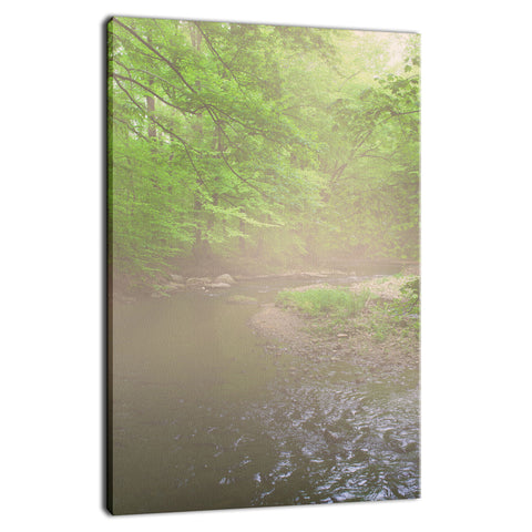 Early Morning Fog on the River Rural Landscape Photo Fine Art Canvas Wall Art Prints