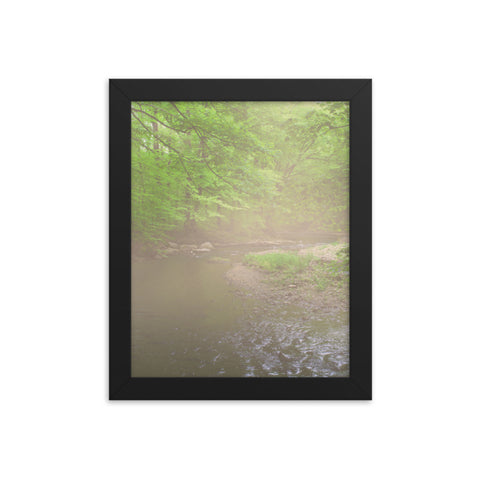Early Morning Fog on the River Rural Landscape Framed Photo Paper Wall Art Prints