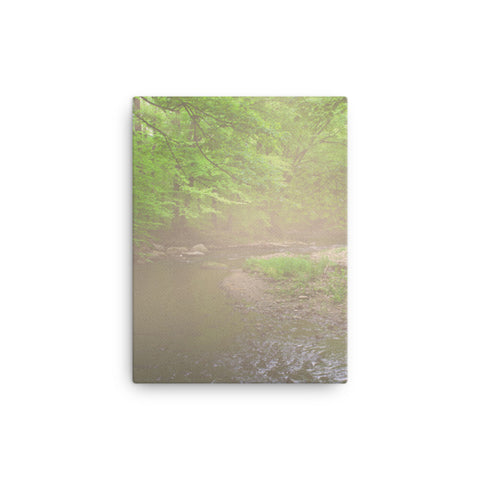 Early Morning Fog on the River Rural Landscape Canvas Wall Art Prints