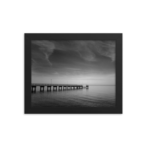 End of the Pier Black and White Framed Coastal Landscape Photo Paper Wall Art Prints