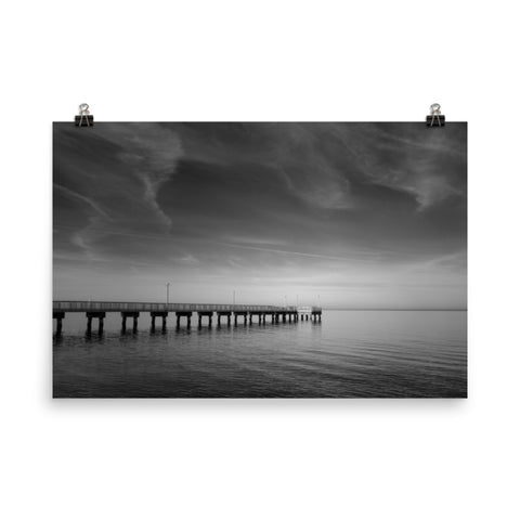 End of the Pier Black and White Coastal Landscape Photo Loose Wall Art Prints