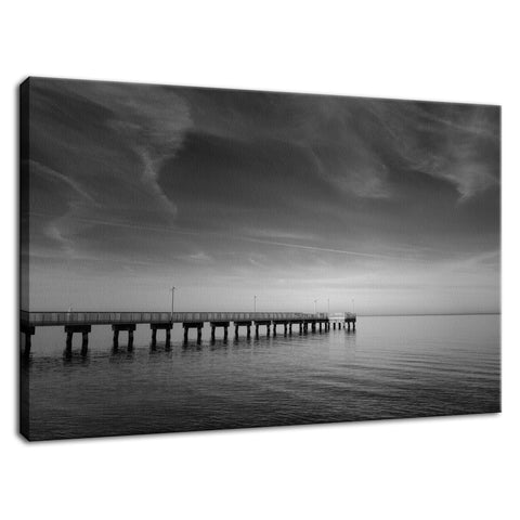 End of the Pier Black and White Coastal Landscape Fine Art Canvas Wall Art Prints