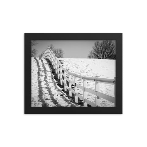 Endless Fences in Black & White Rural Landscape Framed Photo Paper Wall Art Prints