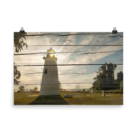 Faux Rustic Reclaimed Wood Turkey Point Lighthouse Loose Wall Art Prints
