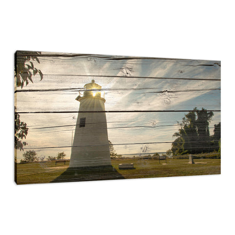 Faux Rustic Reclaimed Wood Turkey Point Lighthouse Fine Art Canvas Wall Art Prints