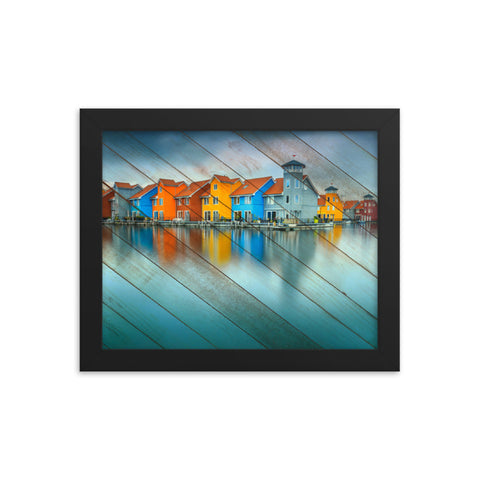 Faux Wood Blue Morning at Waters Edge Framed Coastal Landscape Photo Paper Wall Art Prints
