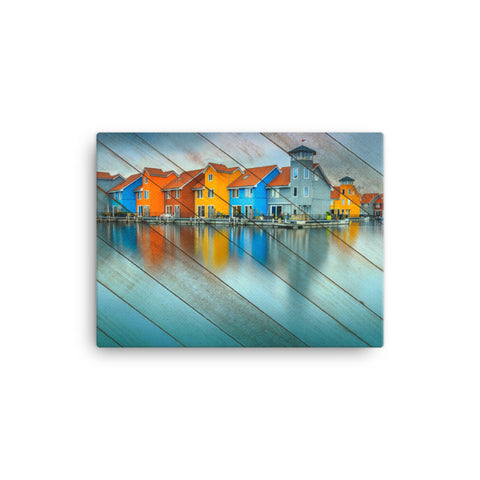 Faux Wood Blue Morning at Waters Edge Coastal Landscape Canvas Wall Art Prints