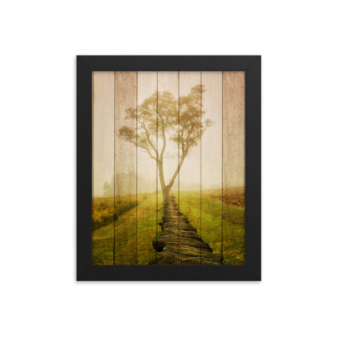 Faux Wood Calming Morning Rural Landscape Framed Photo Paper Wall Art Prints