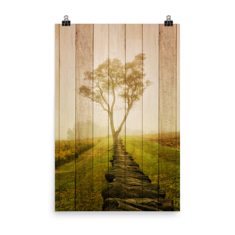 Faux Wood Calming Morning Rural Landscape Photo Loose Wall Art Print